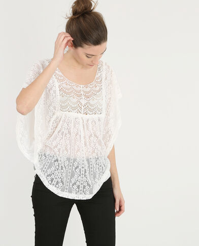 T-shirt in pizzo bianco sporco