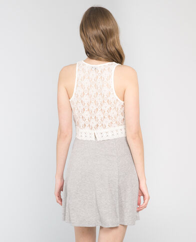 Top cropped pizzo écru