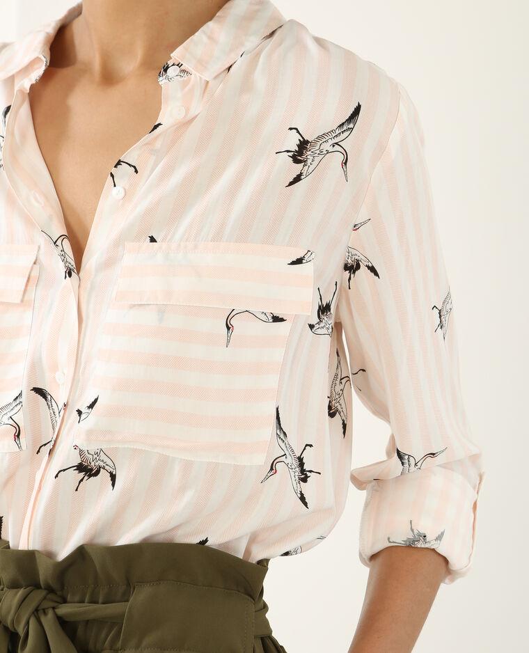 Chemise rayée à motif rose pâle