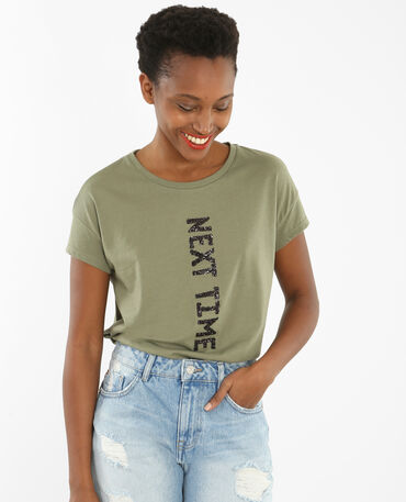 T-shirt con messaggio in paillettes verde