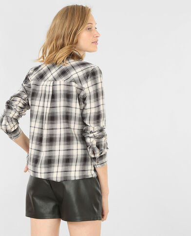 Camisa de cuadros marfil