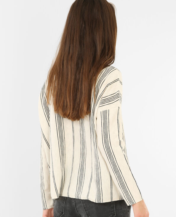 Pull maille effet lin beige