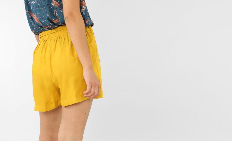 Short fluide jaune moutarde