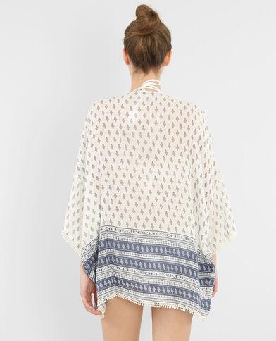 Kimono crépon imprimé blanc cassé