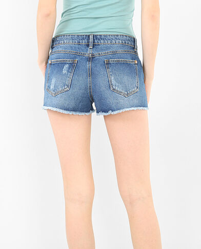 Shorts aus Destroyed-Denim Blau