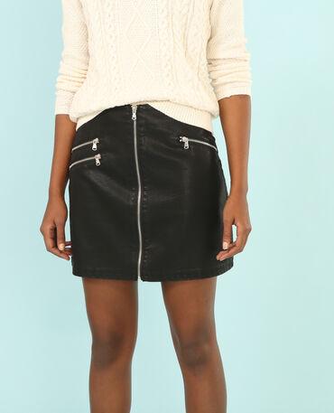Minifalda de polipiel con cremallera negro
