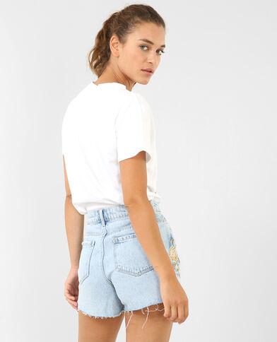 T-shirt col choker blanc
