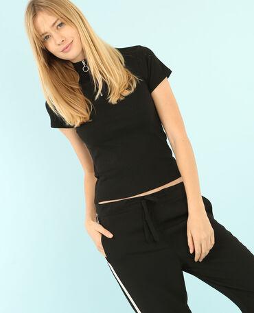 T-Shirt mit Reißverschluss am Kragen Schwarz