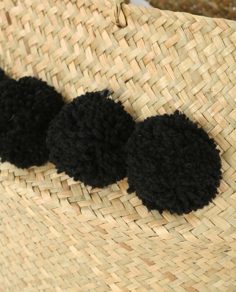 Panier tressé à pompons noir
