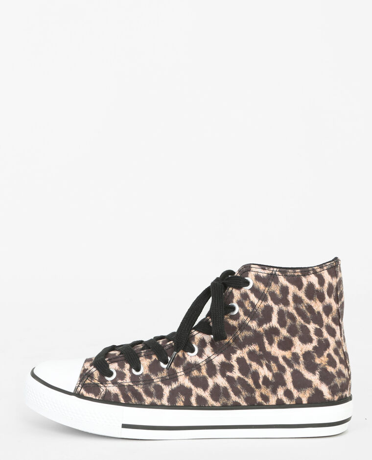 Scarpe da tennis in tela leopardata marrone