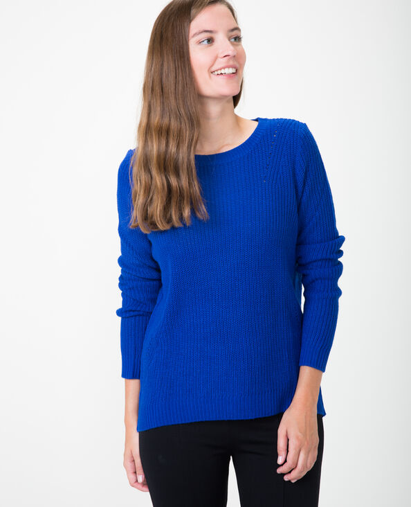 Basic-Pullover Metallic-Blau