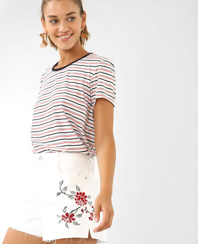 T-shirt à rayures rouge