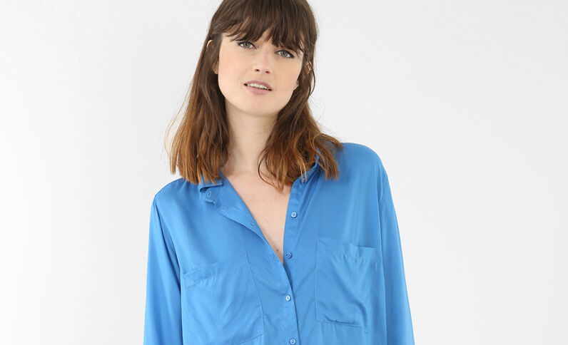 Einfarbige Hemdbluse Blau