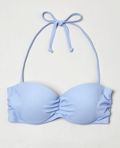 Bandeau-Bikinioberteil mit Wabenmuster Blau