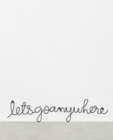 "Decorazione da parete ""Let's go anywhere"" nero"