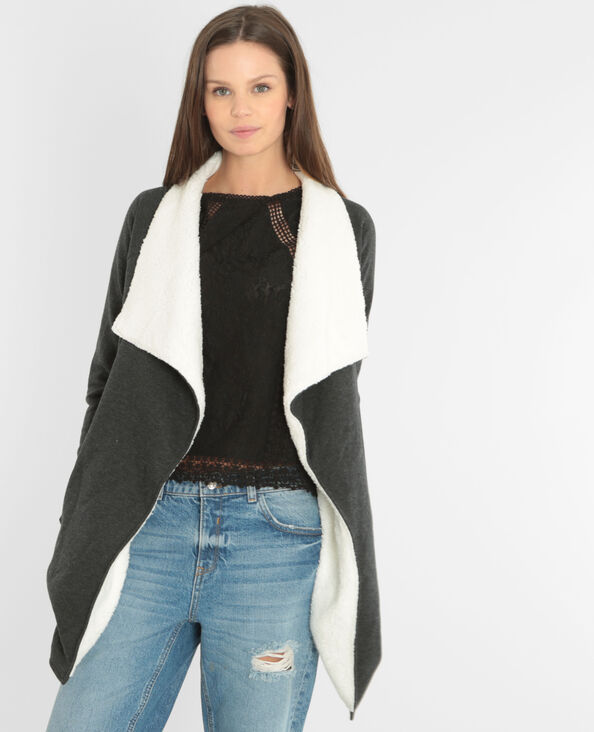 Gilet sweat sherpa gris anthracite