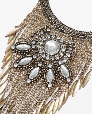 Große Plastron-Halskette mit Fransen white gold