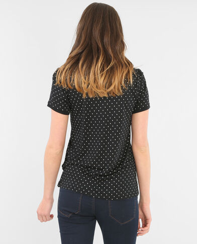T-shirt a pois colletto claudine nero