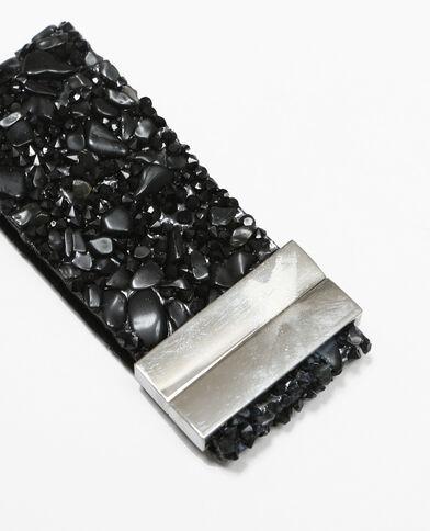 Bracelet souple avec pierres noir