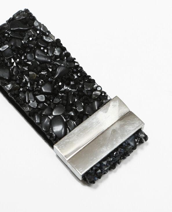 Geschmeidiges Armband mit Schmucksteinen Schwarz
