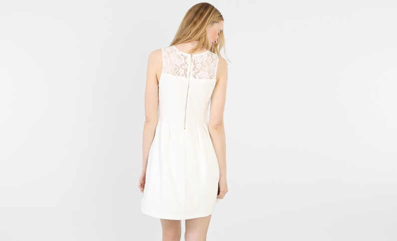 Skater-Kleid mit Spitze Altweiß
