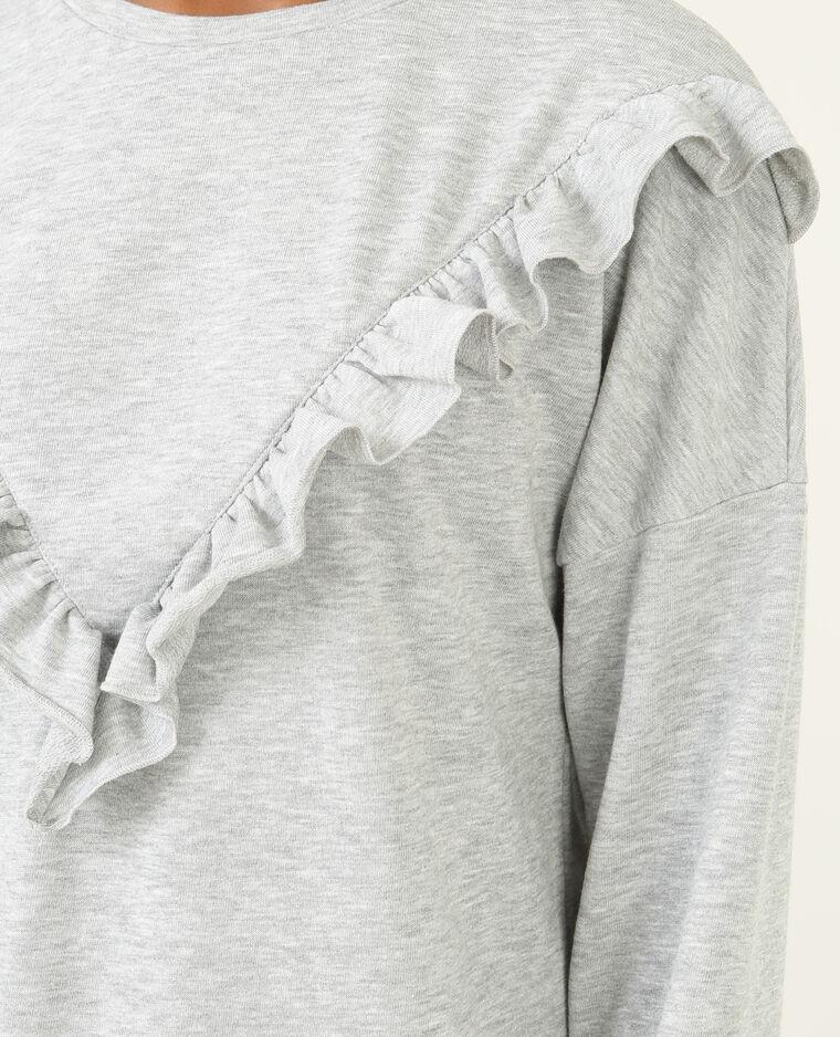Robe sweat à volants gris chiné