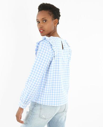 Bluse mit Vichy-Muster und Rüschen Blau