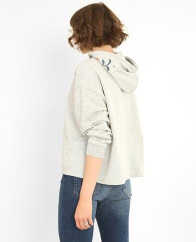 Bestickter Sweater Grau meliert