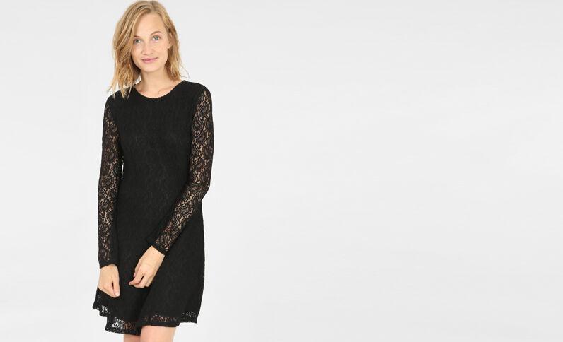 Skater-Kleid mit Spitze Schwarz