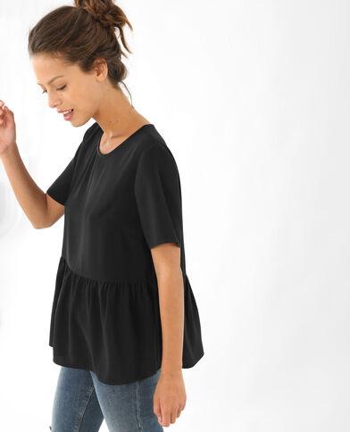 Blusa larga con basca nero