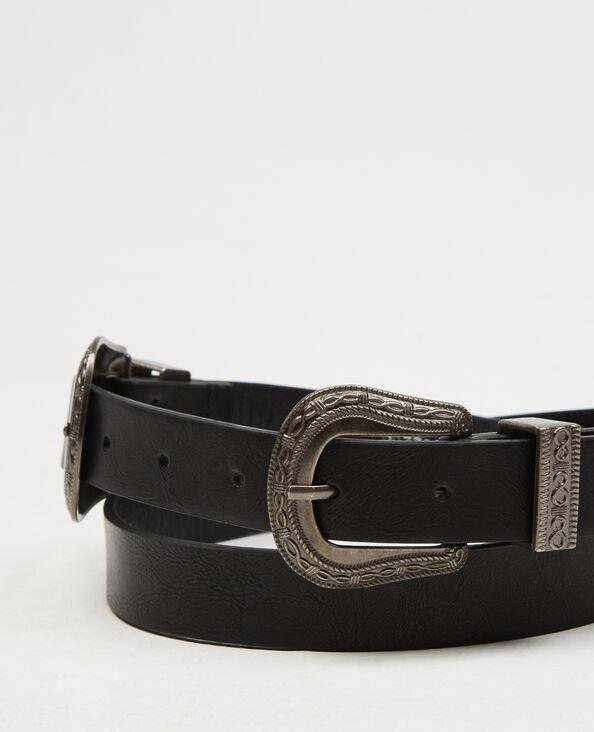 Cinturón con doble hebilla negro