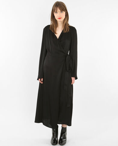 Langes Kleid aus Satin Schwarz