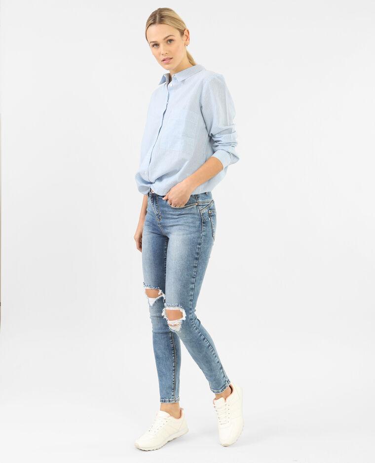 destroyed skinny jeans mit push up effekt blau 50. Black Bedroom Furniture Sets. Home Design Ideas