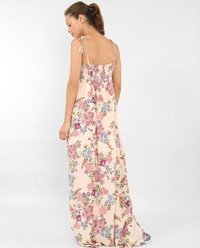 Fleurige lange jurk bleekroze