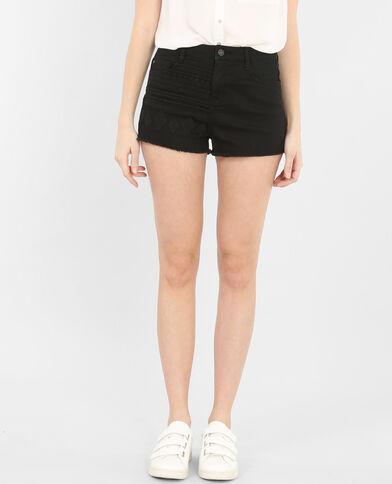 Bestickte Shorts mit hoher Taille Schwarz