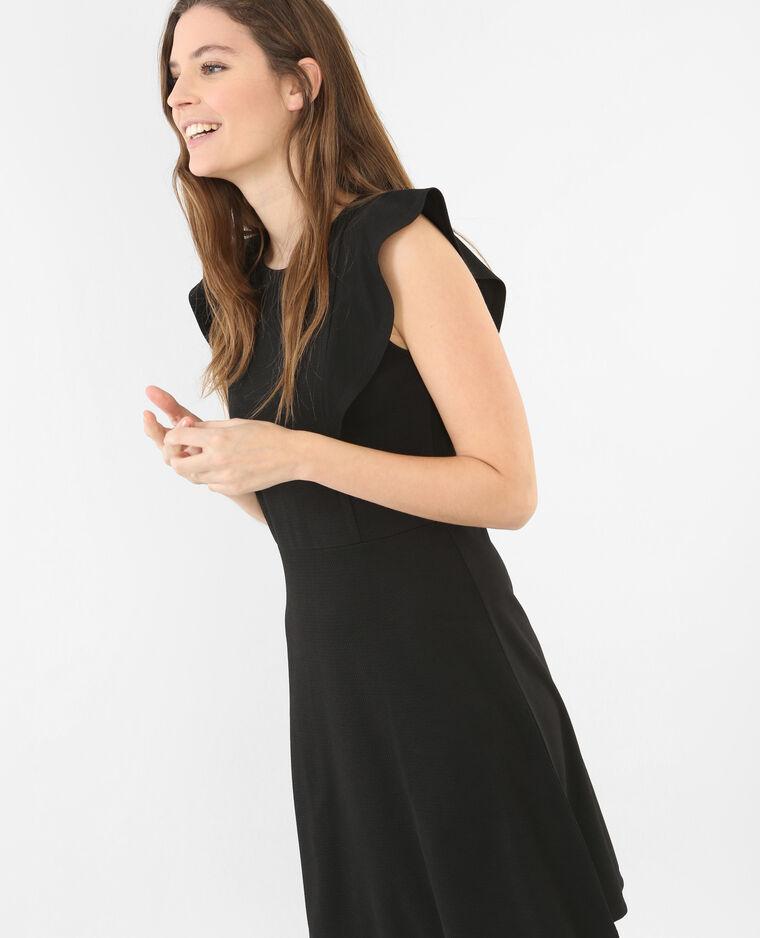 Skater-Kleid mit Rüsche Schwarz