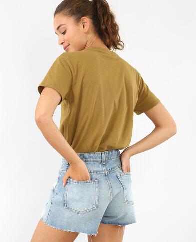 T-Shirt mit Choker-Kragen Khaki