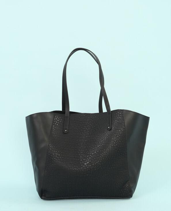 Große Einkaufstasche aus Materialmix Schwarz