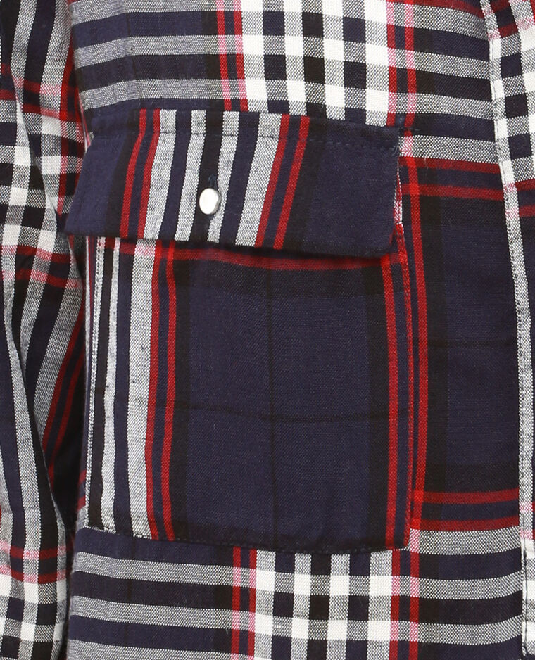 Kariertes Hemdblusenkleid Marineblau