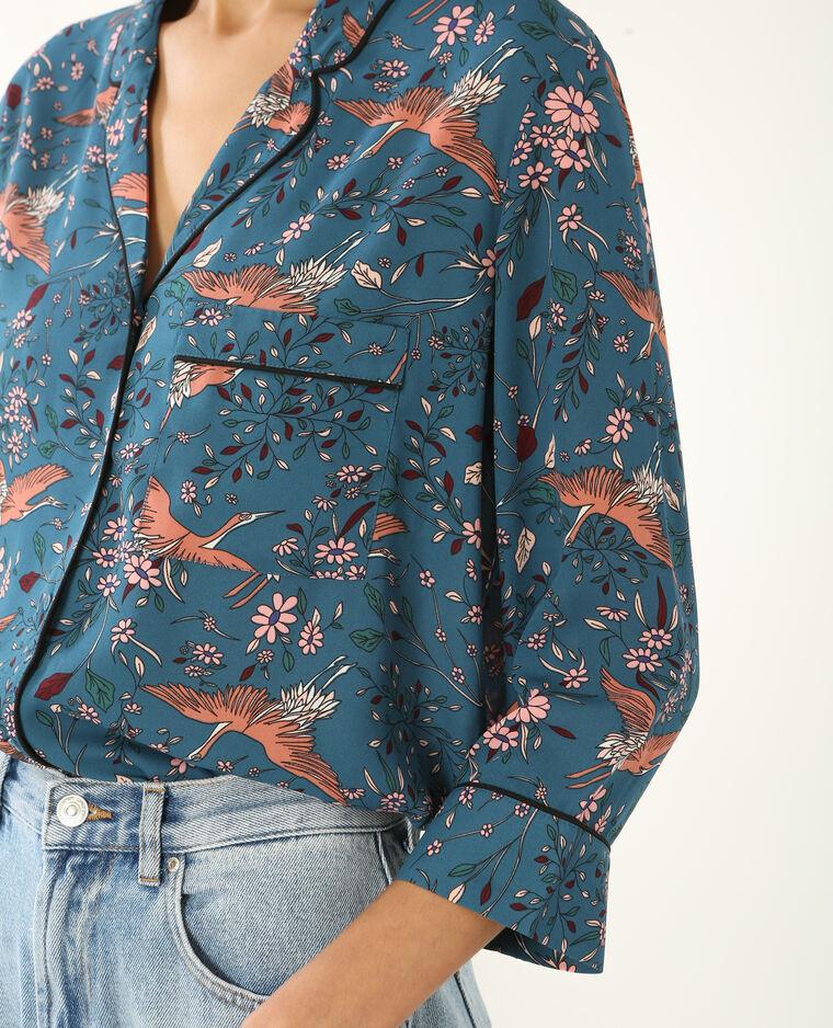 Chemise style pyjama bleu canard