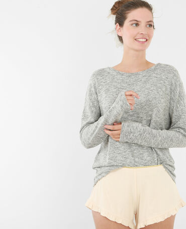 Homewear-Pullover Grau meliert