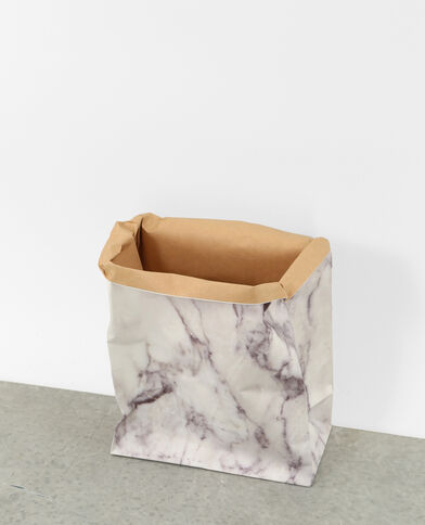 Papierbeutel marmoriert Altweiß