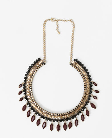 Collier rigide pampilles rouge