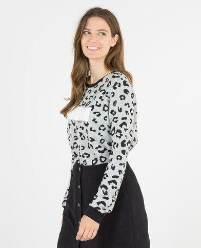 Sweatshirt mit Leoparden-Print Grau