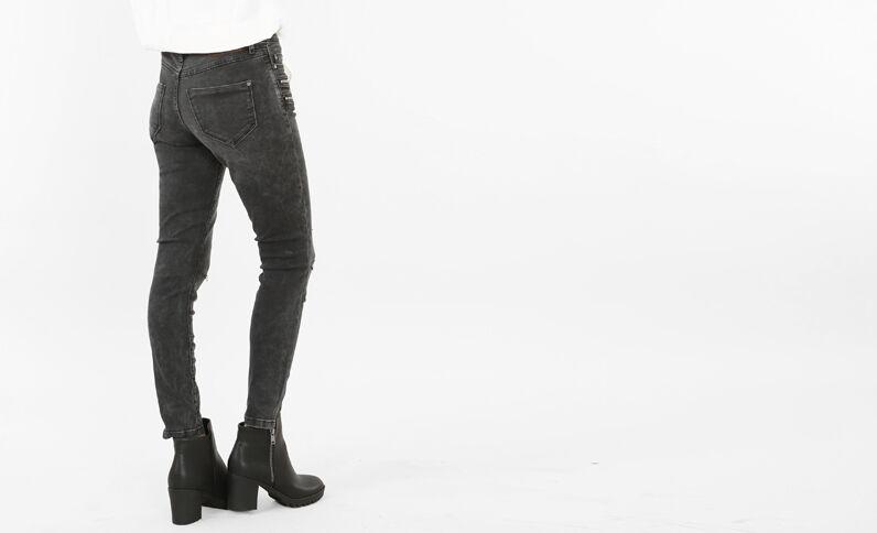 Skinny-Jeans mit Cut-out und Reißverschluss ausgewaschenes Grau