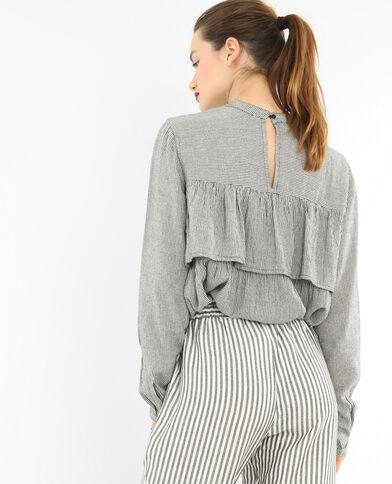 Blusa de rayas con volante gris