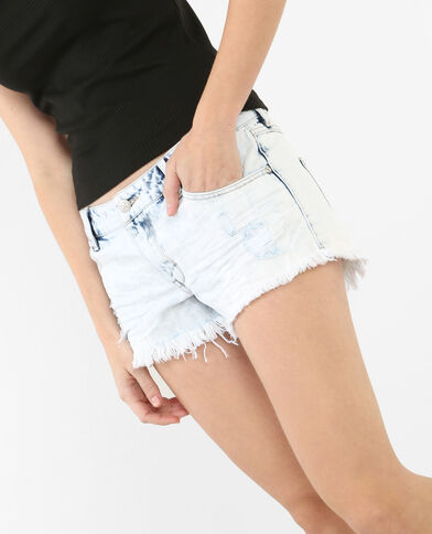 short denim destroy blu chiaro