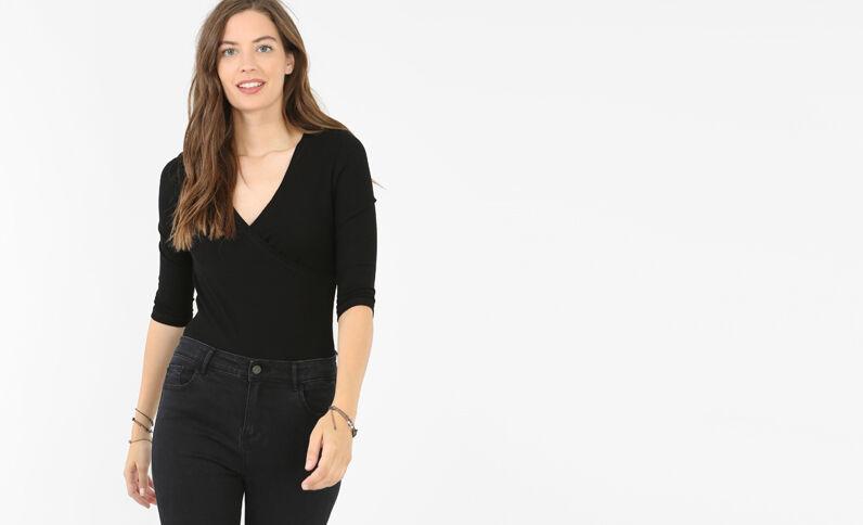 T-shirt cache-cœur nero