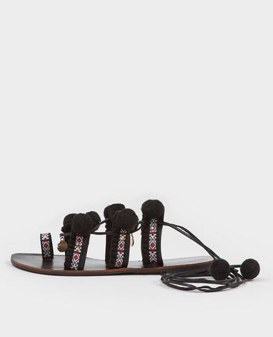 Ethno-Sandalen mit Bommeln Schwarz
