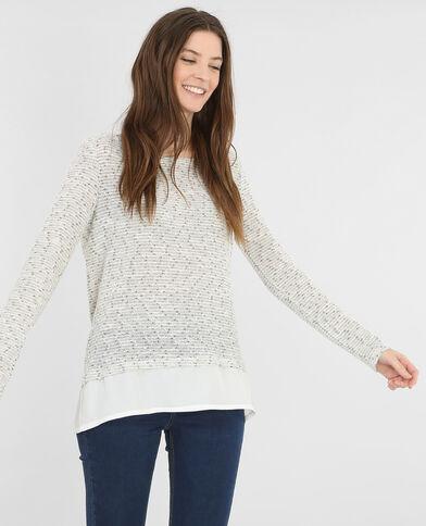 Melierter Pullover aus Materialmix Altweiß